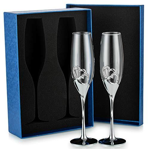 Sziqiqi 2 Pezzi Flute da Champagne con Confezione Regalo Bicchieri di Vino Creativo Ad Alta...