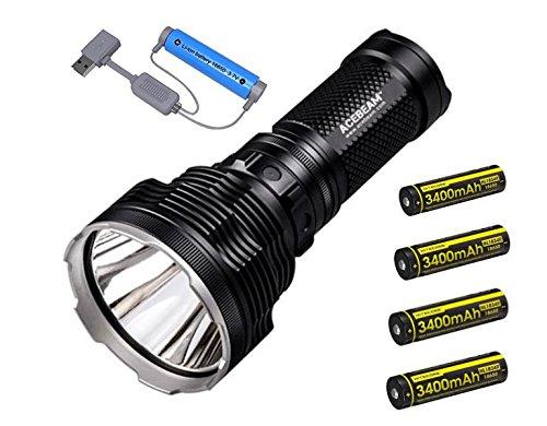 Combo: Acebeam K70 Flashlight 2600 Lumen/1300 meter throw w/4x Nitecore NL1834R USB rechargeable 18650 batteries & Folomov A1 USB Magnetic charger