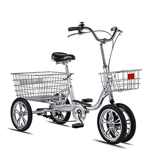 GASLIKE Bicicleta de 4 Ruedas Ligeras, Bicicleta de montaña de Acero de Alto Contenido de Carbono Tres Ruedas de Tres Ruedas para Adultos de Mediana Edad los Ancianos,B
