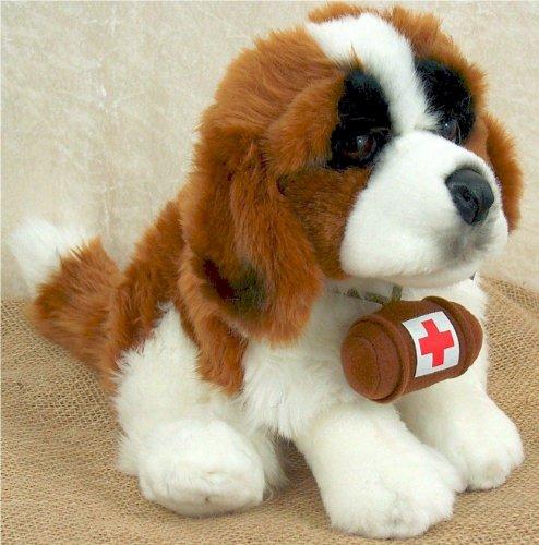 Bernhardiner sitzend mit Rotkreuz Faß Rettungshund 30 cm