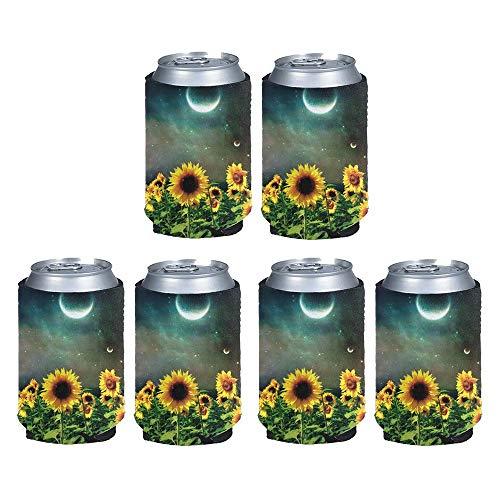 chaqlin Sunflower Moon Print - Enfriador de latas de cerveza (neopreno), diseño de luna de girasol