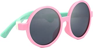 TIJN Kids Toddler Flexiable Rubber Polarized Round Sunglasses for Girl Boys - coolthings.us