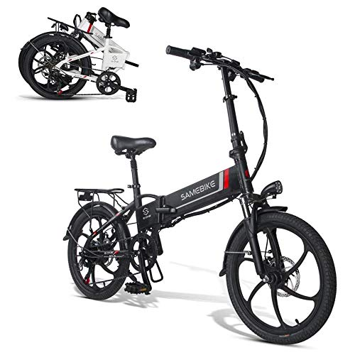YSHUAI Electric Bicycles Bike, Electric Mountain Bike 350W Electric Bicycle Beach Cruiser Lightweight Folding 7S, Conjoined Rim, 10.4Ah, 350W, with Removable 48V Lithium-Ion Battery