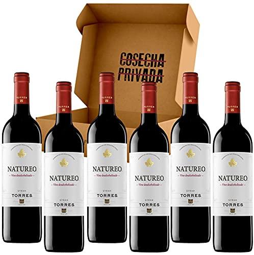 Natureo Vino Sin Alcohol - Envío Gratis 24 H - 6 Botellas - Vino Tinto - Vino Desalcoholizado -Seleccionado y enviado por Cosecha Privada