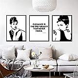 Surfilter Moderno Black White Wall Art Pintura Audrey Hepburn Nordic Pósters e impresiones Fondos de pared para la decoración de la sala de estar 40x60cm 16x24inchx3 Sin marco