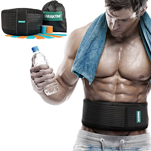 Back Brace-Lower Back Support Belt with Dual Adjustable Straps and Breathable Mesh Panels for Women and Men PLUS Kinesiology Tape and Carry Bag INCLUDED by MARAKYM(L / XL)
