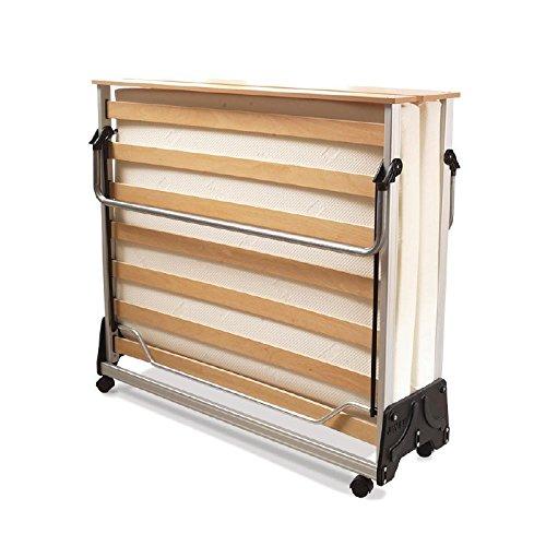 JAY-BE Contrato Cama Plegable con colchón de Espuma con Efecto Memoria Doble en Color Plateado