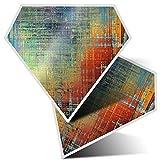 2 pegatinas de diamante de 7,5 cm – Pintura metalizada azul rojo arte moderno divertido calcomanías para ordenadores portátiles, tabletas, equipaje, chatarra, neveras, regalo fresco #12420