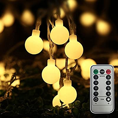 [Remote & Timer] Globe String Lights, Eaiitty 16.4 Feet 40 LED Battery Powered Light 8 Modes Warm White Decorative Light for Outdoors/Indoors/Parties/Wedding/Christmas/Birthday