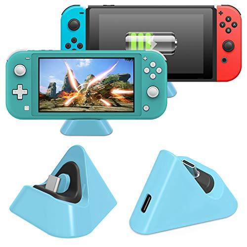 Base de carga para Nintendo Switch Lite y Nintendo Switch, estación de carga compacta con puerto tipo C compatible con Nintendo Switch Lite 2019 (azul claro)