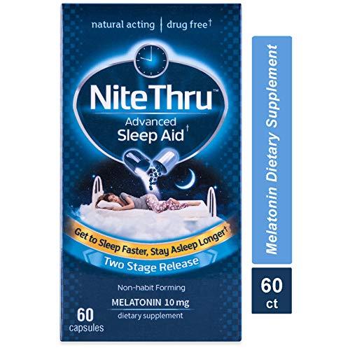Nite Thru Advanced Sleep Aid Melatonin Dietary Supplement, Capsules (Packaging May Vary), 60 Count