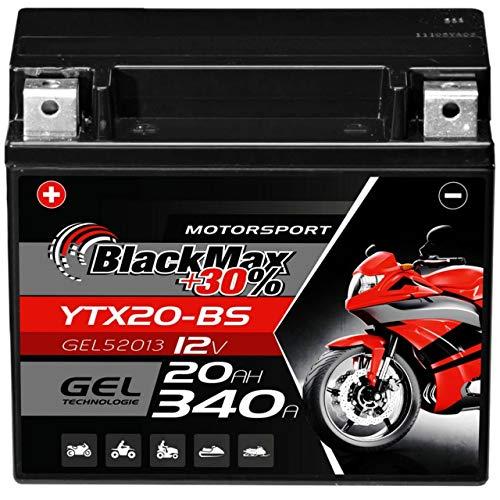BlackMax CTX20-BS Motorradbatterie GEL 12V 20Ah YTX20-BS Harley Davidson 82001