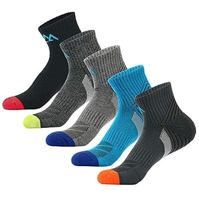 innotree 5 Pack Men's Cushioned Hiking Walking Running Socks, Moisture Wicking Blister Resist Multi Performance Padded Quarter Crew Ankle Athletic Socks Outdoor Trekking