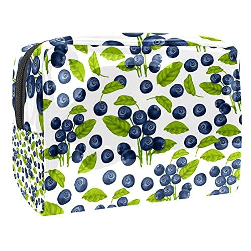 Bolsas de cosméticos a prueba de agua, acuarelas, arándanos, hojas, bolsa de aseo de viaje, bolsa de maquillaje con cremallera para mujeres, bolsa organizadora de piscina de playa