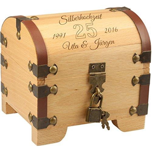 Geschenke 24 Holz-Schatztruhe - Silberhochzeit: Vintage Holztruhe mit Schloss und Gravur: personalisiert mit Namen und Datum - Geldgeschenk originell verpacken zur silbernen Hochzeit