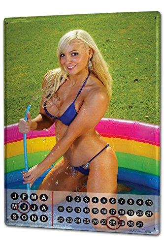 Wandkalender 2019 Jahreskalender Dauerkalender 2020 Kalender 2021 Terminplaner Fotokalender Pin Up Erotik Blondine Pool Metall Magnet