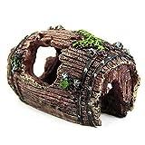 Timetided Accesorios para equipos de acuario peces tortuga decoración del tanque paisajismo artesanías de resina camarones casa de peces barril de vino antiguo
