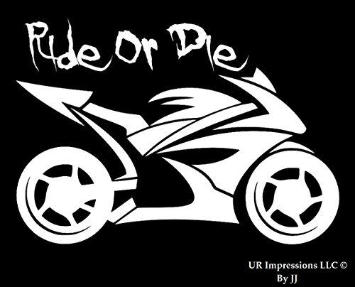UR Impressions Ride Or Die - Motorcycle Decal Vinyl Sticker Graphics for Cars Trucks SUV Vans Walls Windows Laptop Tablet|White|5.5 X 4.3 inch|JJURI012