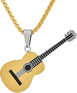 Magna Steel Men's Stainless Steel Acoustic Guitar Music Charm Pendant Necklace with 24