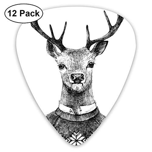 Guitar Picks Handgezeichnetes Hirschporträt in einem nordischen Strickpullover Hipster Weihnachten, für Bass E-Gitarren-12er Pack