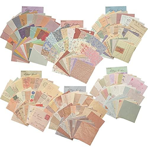 360枚 ヴィンテージ紙 レトロ クラフト紙 メモ紙 背景紙 折紙 3サイズ 手帳 ノート 装飾用紙