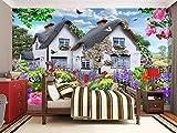 GBHL Papiers peints muraux ciel bleu au toit de chaume multicolores petit jardin...