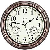 Moderno Reloj Pared Grande silencioso con termómetro e higrómetro Reloj de Pared,Vintage Relojes de Cuarzo se utilizan en la Cocina, Sala de Estar, Oficina, Dormitorio(Bronce-termómetro)