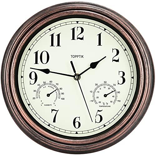 orologio da parete termometro HOSTON Orologio da parete Vintage Silenzioso alimentato a batteria con termometro e igrometro orologio da cucina moderno per soggiorno camera da letto ufficio (Bronzo-Termometro 30cm)