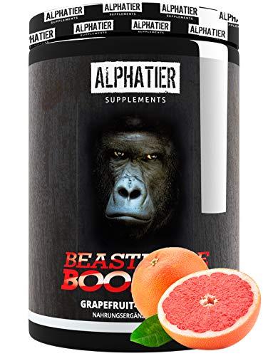 PRE WORKOUT BOOSTER BEASTMODE - 500g Pulver - ALPHATIER Hardcorebooster mit Koffein, Citrullin, L-Arginin, Creatine, Beta-Alanin - Training & Fitness Shake - Grapefruit Flavour