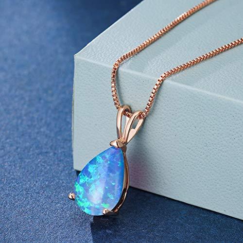 DYFUHO Agua Gota De Piedra Gargantilla Colgante Collares para Las Mujeres, Fuego Opal Collar Rosa Oro Collares De Piedra De Nacimiento (Azul)
