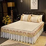 KIKIGO Asiento de Aire Acondicionado Lavable,Three-Piece Lace Bed Skirt Bed Cover, Soft Air-Conditioned Mat, Machine Washable-A2_180*200cm Three-Piece Set