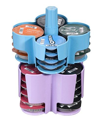 Tassimo Koziol Carousel / Karussel T-Disc Halter, 2-tlg., für 40 T-Discs, Kaffee Kapselhalter, Kunststoff, Türkis / Lila