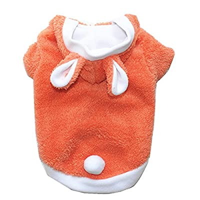 Dog Clothes Dog Jumper Winter Sweater Fashion Cute Rabbit Clothing Puppy and Kitten Pet Transform Clothes Hoodies Pullover Cat Outwear Dog Costume Orange