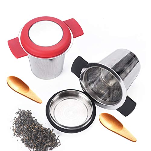Tea Infuser Set of 4,Two Tea Strainers and Two Teaspoons,Stainless Steel Tea Filter Strainer with Lid and Double Handles Perfect for Hanging on Teapots, Cups to steep Loose Leaf Tea and Coffee