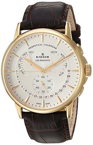 Edox Reloj Cronógrafo para Hombre de Cuarzo con Correa en Cuero 01602-37J-AID
