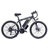 Hyuhome Bicicleta eléctrica para adultos, 360 W, aleación de aluminio, desmontable, 48 V/10 Ah, de iones de litio, de la bicicleta de montaña / Commute Ebike (Black Green)