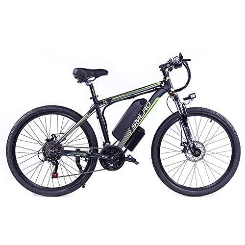 Hyuhome Vélos électriques pour Adultes, 360W en Alliage d'aluminium Ebike vélos Amovible 48V / 10Ah Lithium-ION Rechargeable VTT/Commute Ebike,Black Green