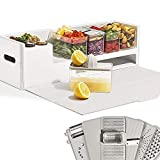 Prepdeck Recipe Preparation Kit and Storage, 8 Premium Prepping Tools, Cutting Board with 15 Tritan Plastic Food Containers with Lids, Removable Trash Bin, Microwave and Top-Rack Dishwasher Safe