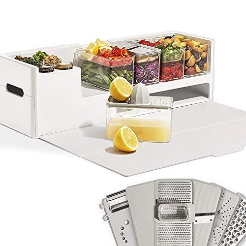 Prepdeck Recipe Preparation Kit and Storage, 8 Premium Prepping Tools, Cutting Board with 15 Tritan Plastic Food Containers with Lids, Removable Trash Bin, Microwave and Top-Rack Dishwasher Safe (Glacier White)
