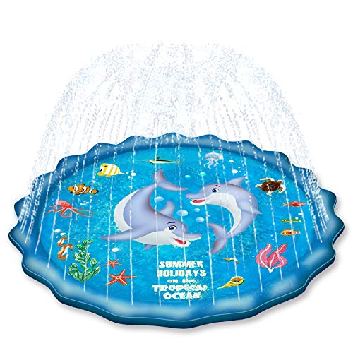 EPN Sprinkle Pad for Kids Splash Play Mat for Toddlers Baby, Upgraded 67' Summer Outdoor Water Toys...