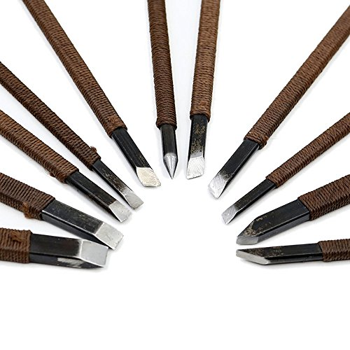 CSLU 11pcs Stone Carving Tool Chisels/Knife Set Kit Mn Alloy Steel