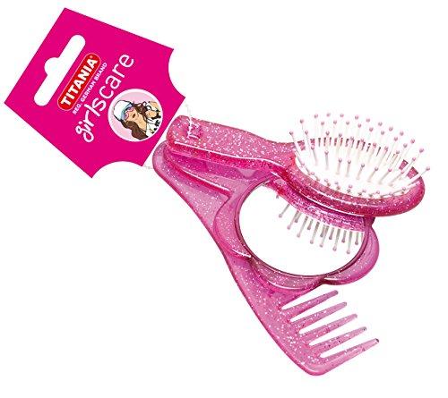 Titania Lot de 3 sacs à main avec brosse, peigne, miroir, rose/violet, aspect pailleté 69 g