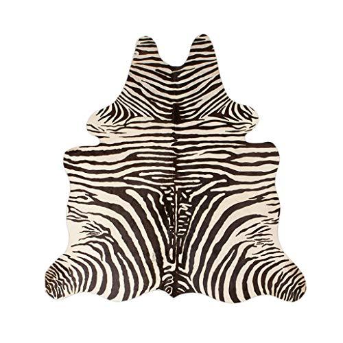 WHF1989 Teppichfrontteppichwohnzimmerdecke-Bettdecke europäische Zebra-Lederdecke Wohnzimmerschlafzimmer-Frontteppich (Color : Black, Size : 150 * 170CM)