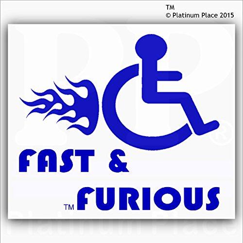 """Vinilo adhesivo, diseño con logo de discapacitados con texto """"Fast & Furious"""", para exterior de la ventana, ideal para coches y camiones, color azul sobre blanco"""