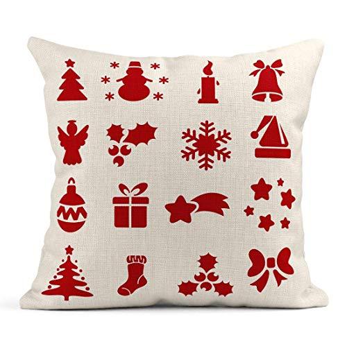 Dekokissen Neujahr Schablonen Sammlung Silhouetten Weihnachtsbaum Schneemann Schneeflocke Sternschnuppe Ball Kerze Hut Leinen Kissen Home Dekorative Kissen