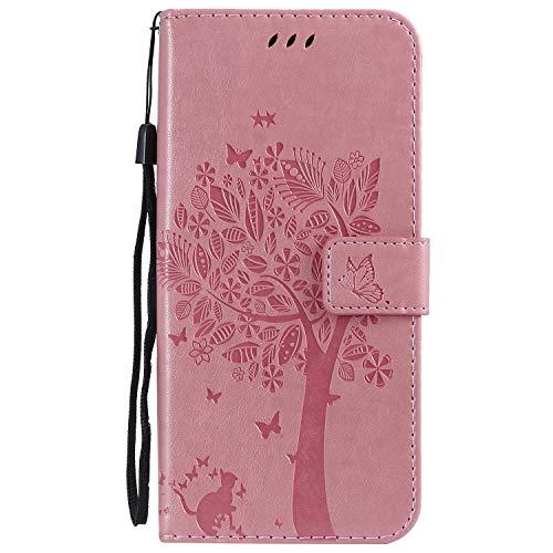 LODROC Galaxy S10 5G Hülle, TPU Lederhülle Magnetische Schutzhülle [Kartenfach] [Standfunktion], Stoßfeste Tasche Kompatibel für Samsung Galaxy S10 5G/G977B - LOKT0100465 Rosa