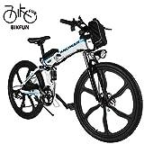 BIKFUN Vélo de Montagne Pliable pour vélo électrique, 26/20 pneus Vélo électrique pour vélo Ebike 250 W, Batterie au Lithium 36V 8Ah, Suspension Complète Premium, Shimano 21/7 Vitesses (26 VTT Blanc)