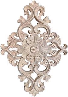 HEALLILY Muebles de madera tallada onlay esquina decorativa onlay apliques apliques de flores calcomanía para puerta armar...
