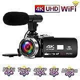 Videocamara 4K 24FPS Cámara de Video 30MP WiFi Videocamara Vlogging con...