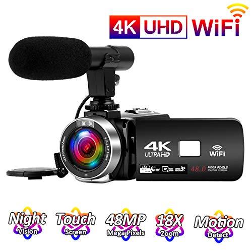 Videocamara 4K 24FPS Cámara de Video 30MP WiFi Videocamara Vlogging con Pantalla Táctil de 3.0'Cámara Visión Nocturna por Infrarrojos Micrófono Externo Time-Lapse